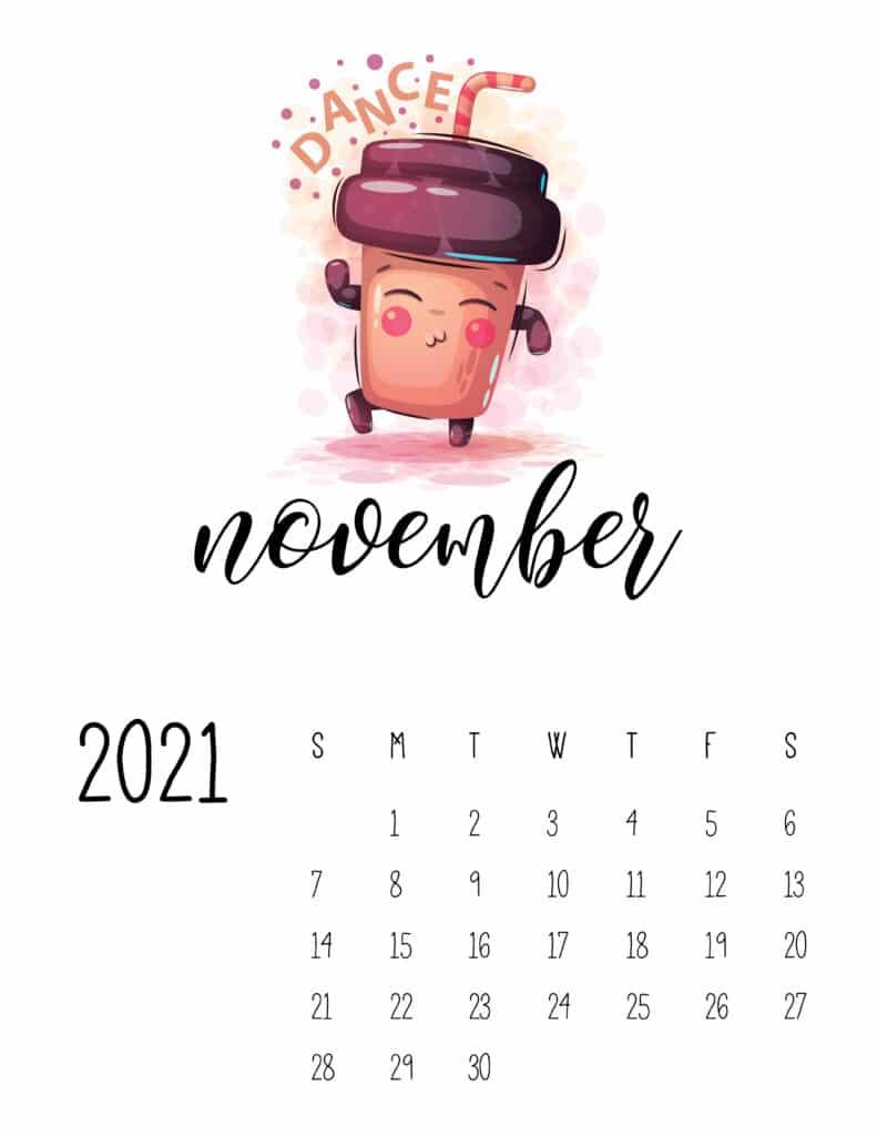 Cute Coffee Time November 2021 Calendar