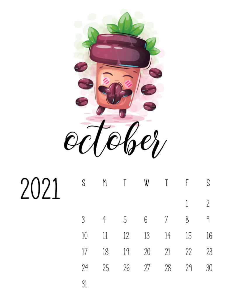Cute Coffee Time October 2021 Calendar