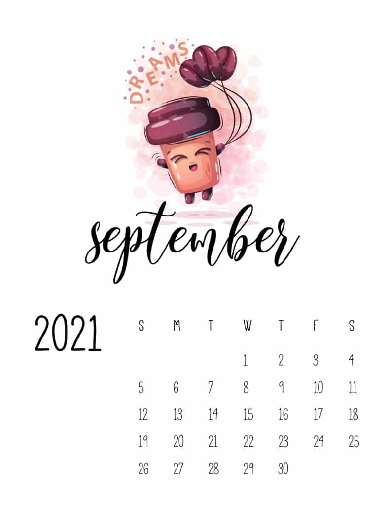 Cute Coffee Time September 2021 Calendar
