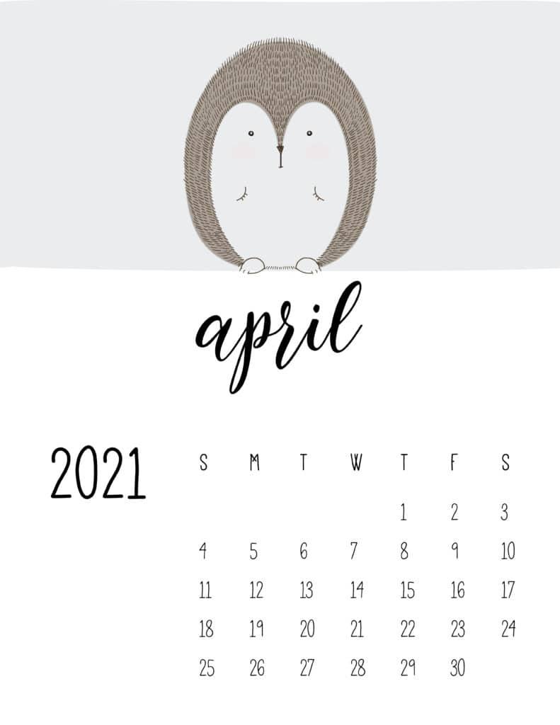 Cute Contemporary Peeking Animals 2021 April Calendar