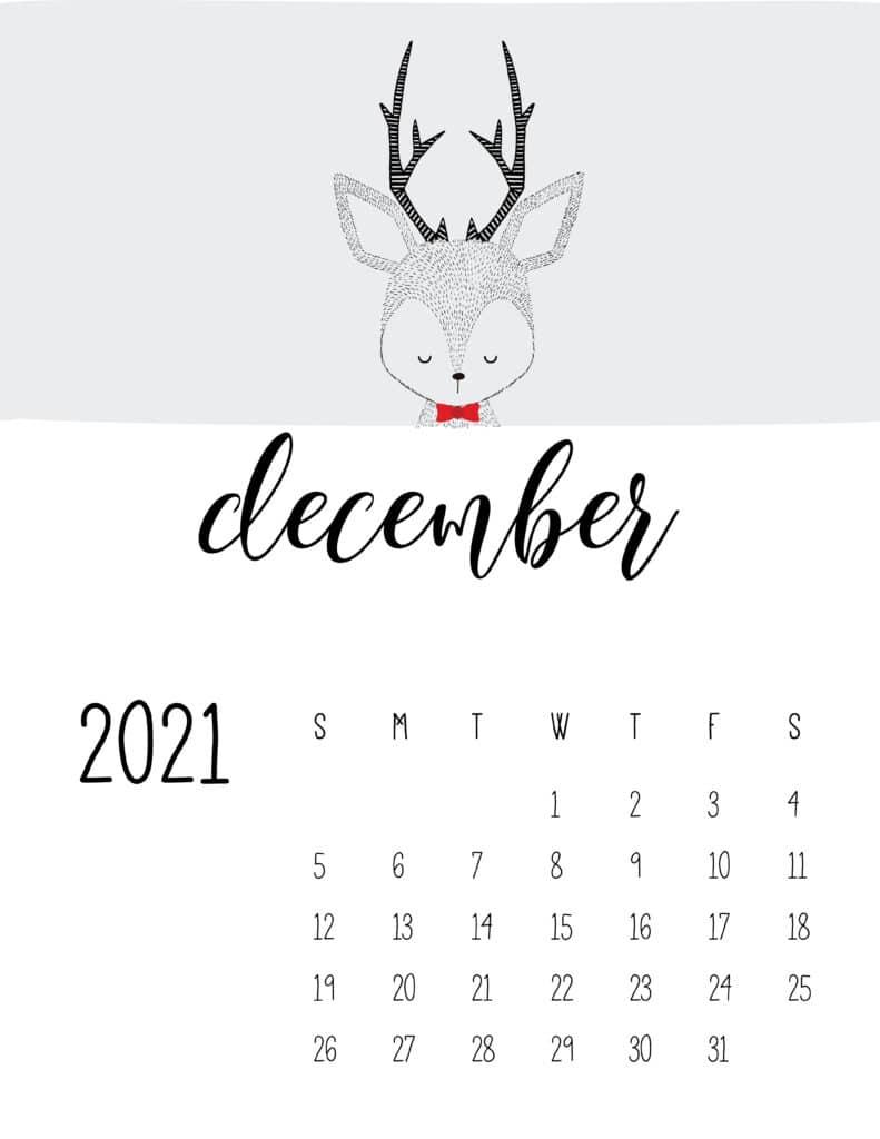 Cute Contemporary Peeking Animals 2021 December Calendar