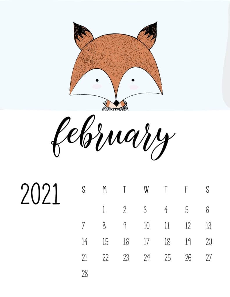 Cute Contemporary Peeking Animals 2021 February Calendar