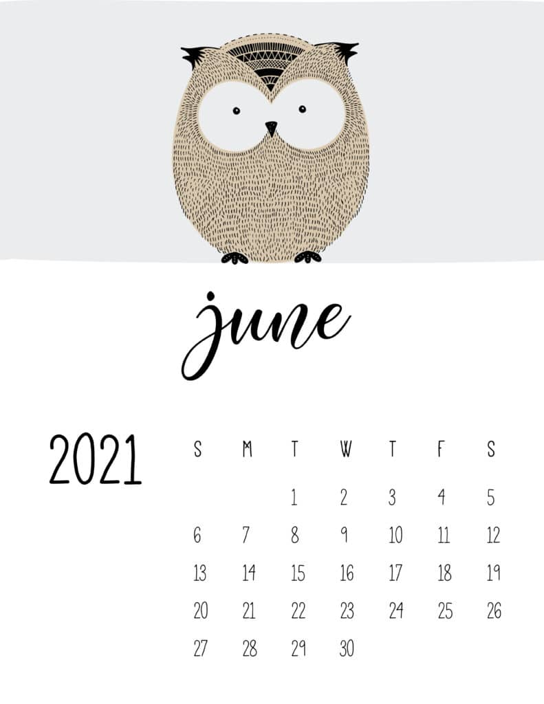 Cute Contemporary Peeking Animals 2021 June Calendar
