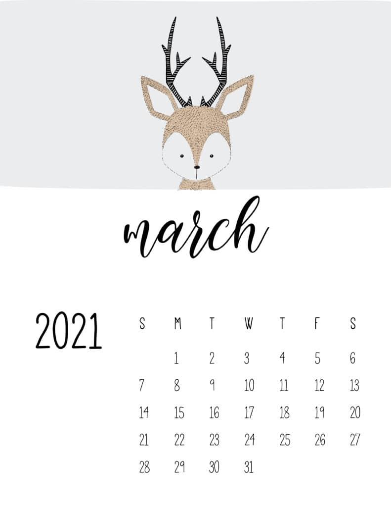 Cute Contemporary Peeking Animals 2021 March Calendar