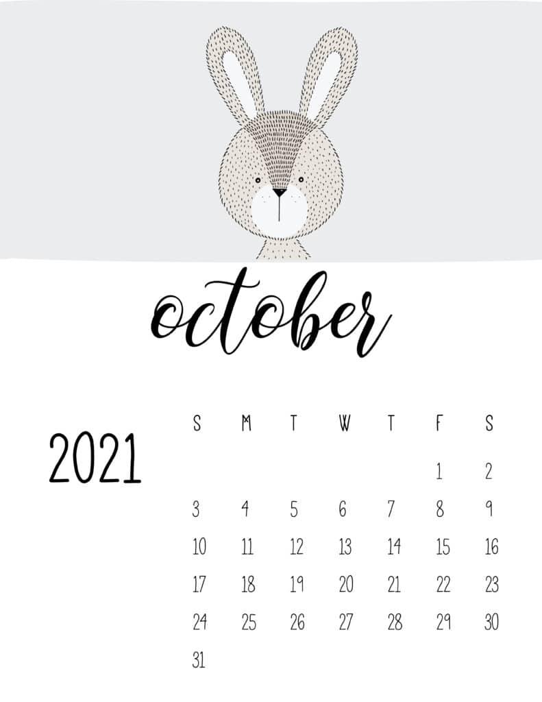 Cute Contemporary Peeking Animals 2021 October Calendar