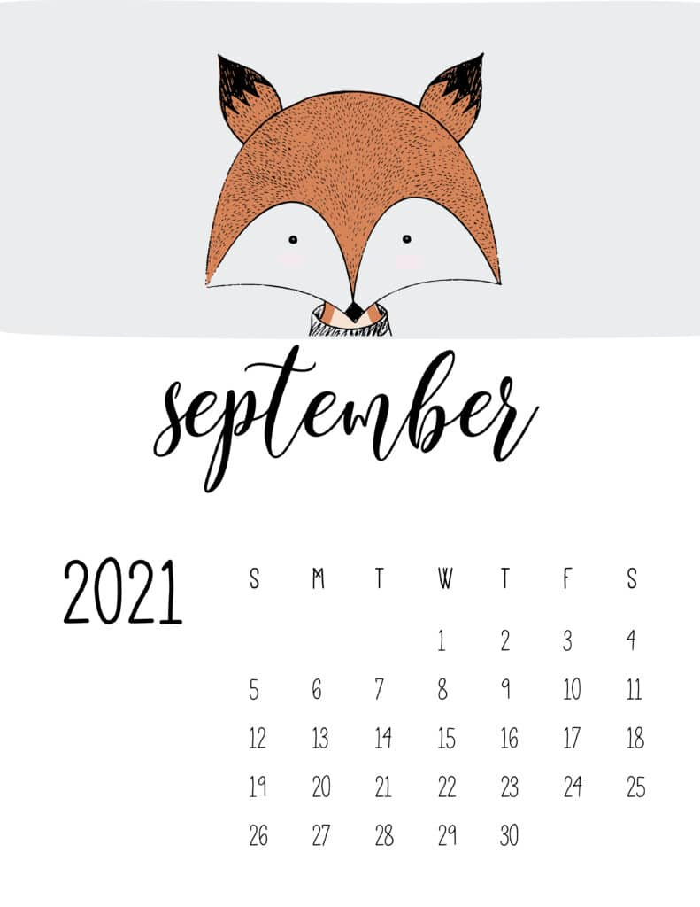 Cute Contemporary Peeking Animals 2021 September Calendar