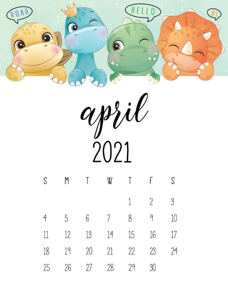 Cute Dinosaurs April 2021 Calendar