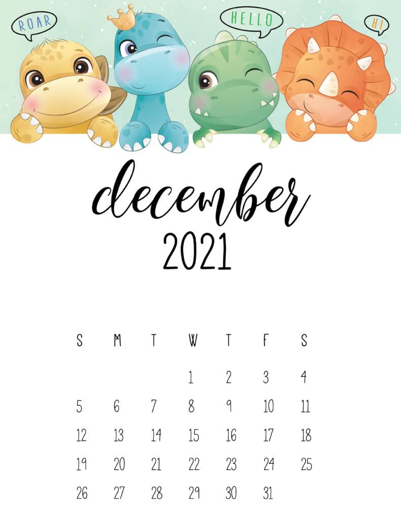 Cute Dinosaurs December 2021 Calendar