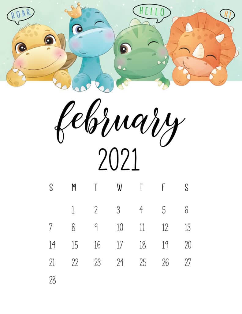 Cute Dinosaurs February 2021 Calendar