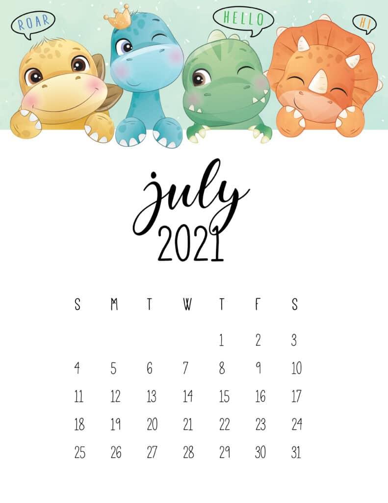 Cute Dinosaurs July 2021 Calendar