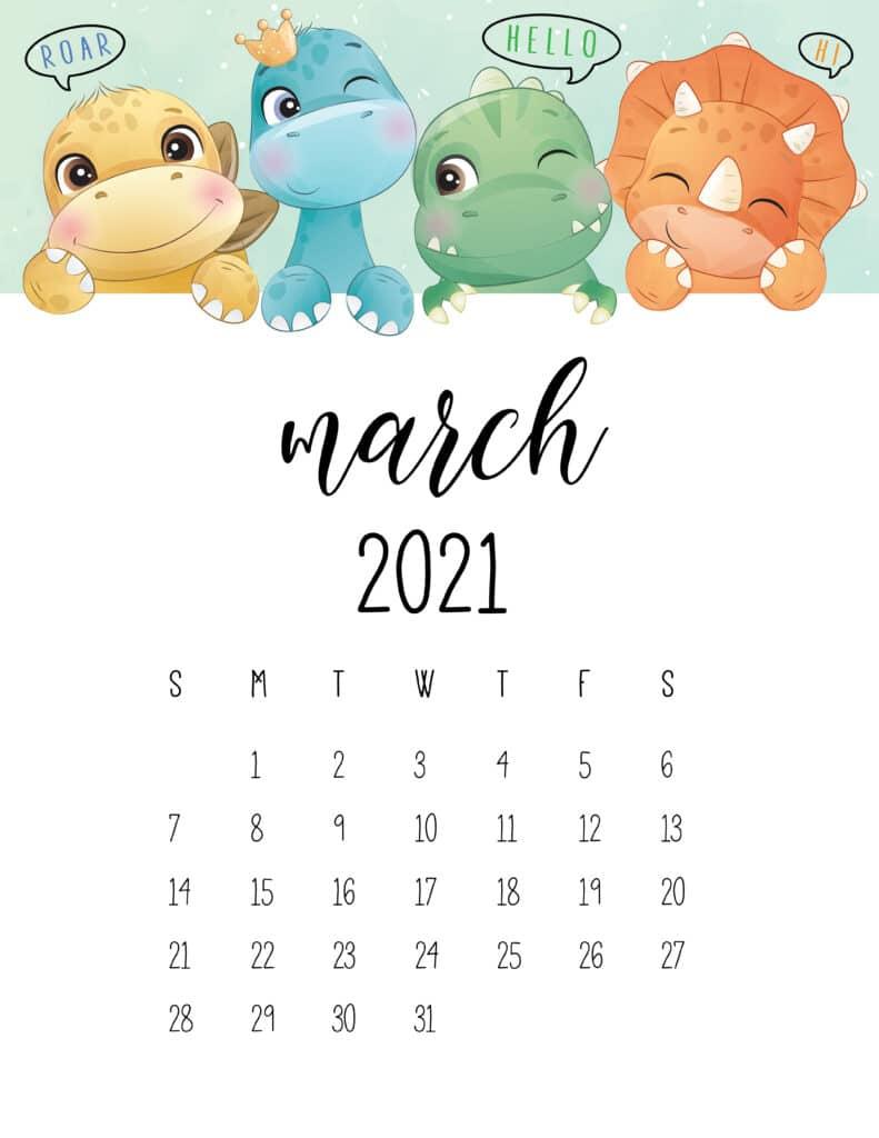 Cute Dinosaurs March 2021 Calendar