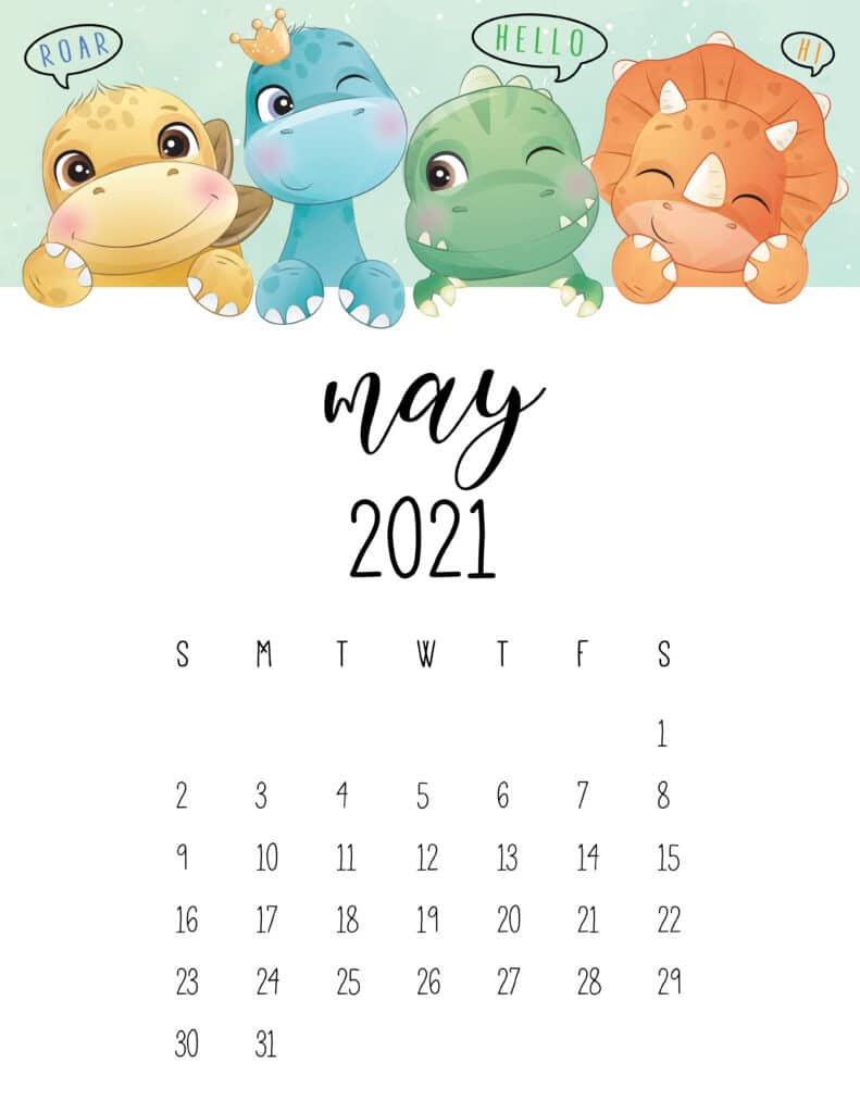 Cute Dinosaurs May 2021 Calendar