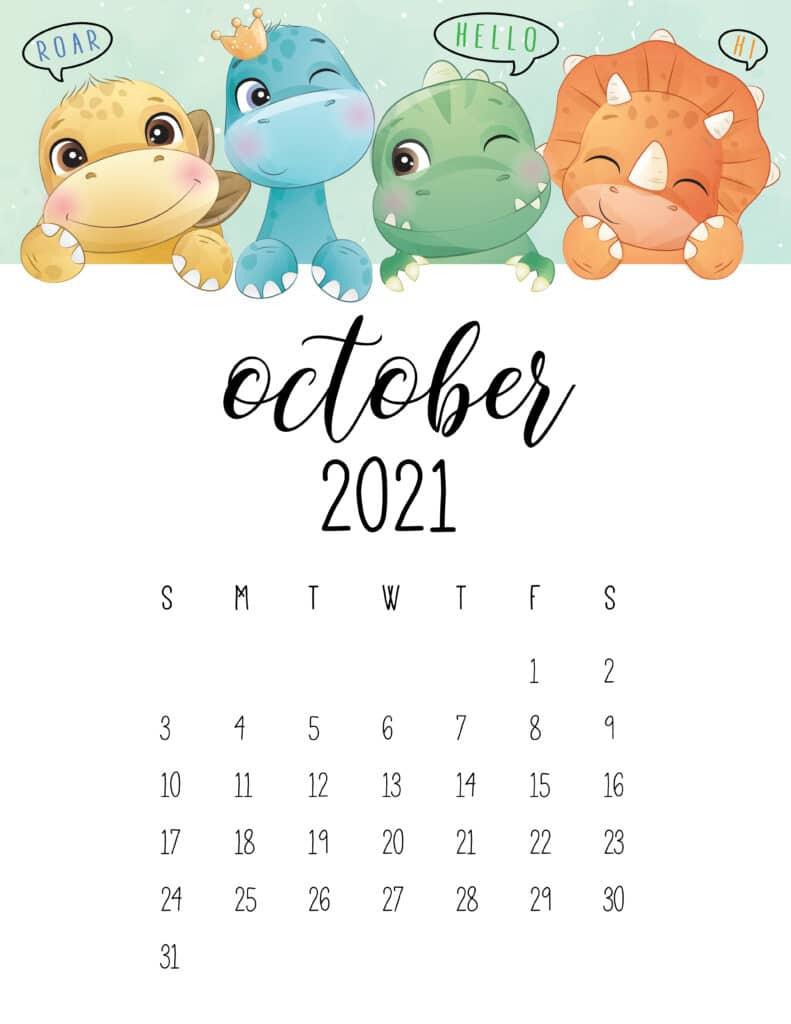 Cute Dinosaurs October 2021 Calendar