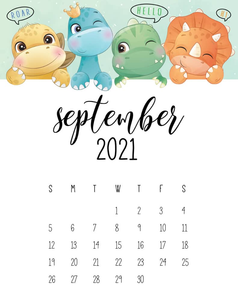 Cute Dinosaurs September 2021 Calendar