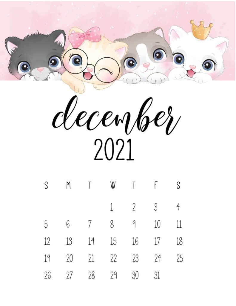 Cute Kittens December 2021 Calendar