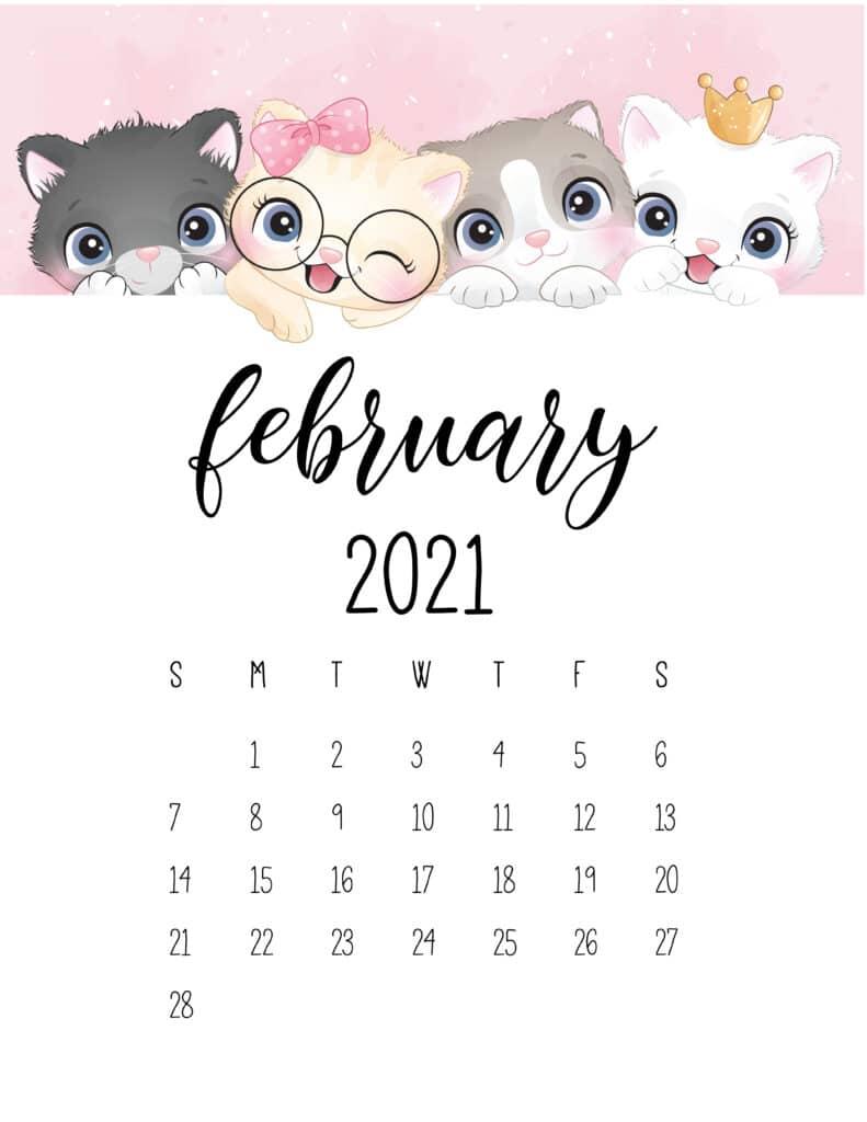 Cute Kittens February 2021 Calendar
