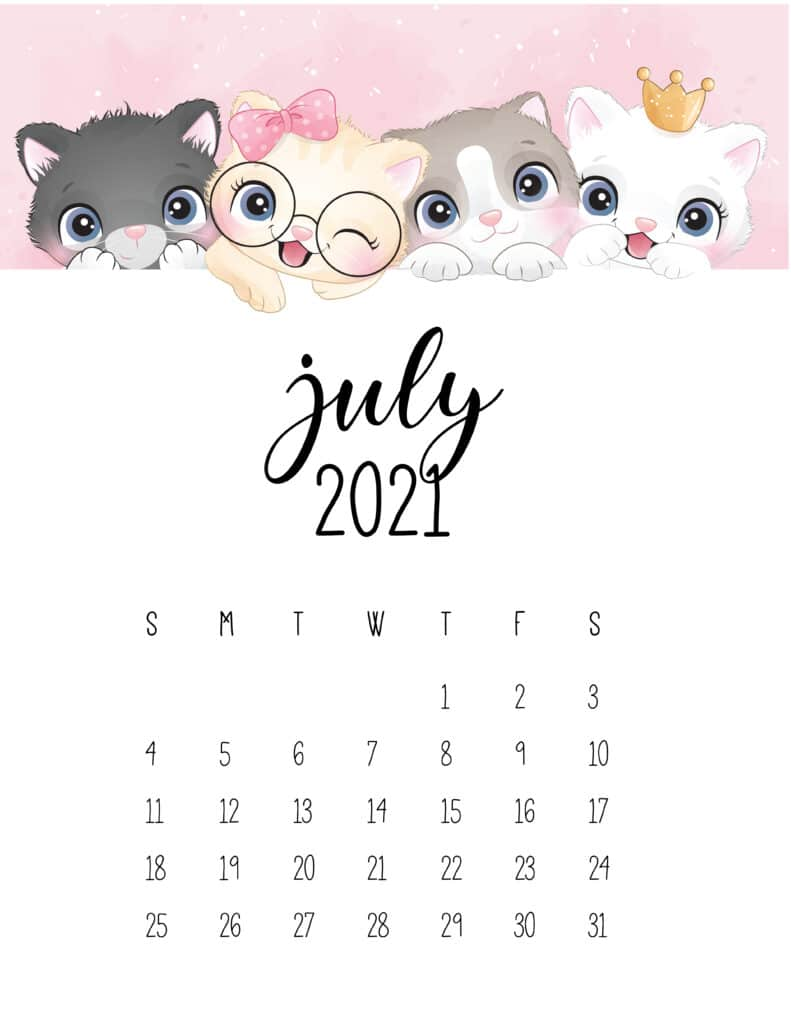 Cute Kittens July 2021 Calendar