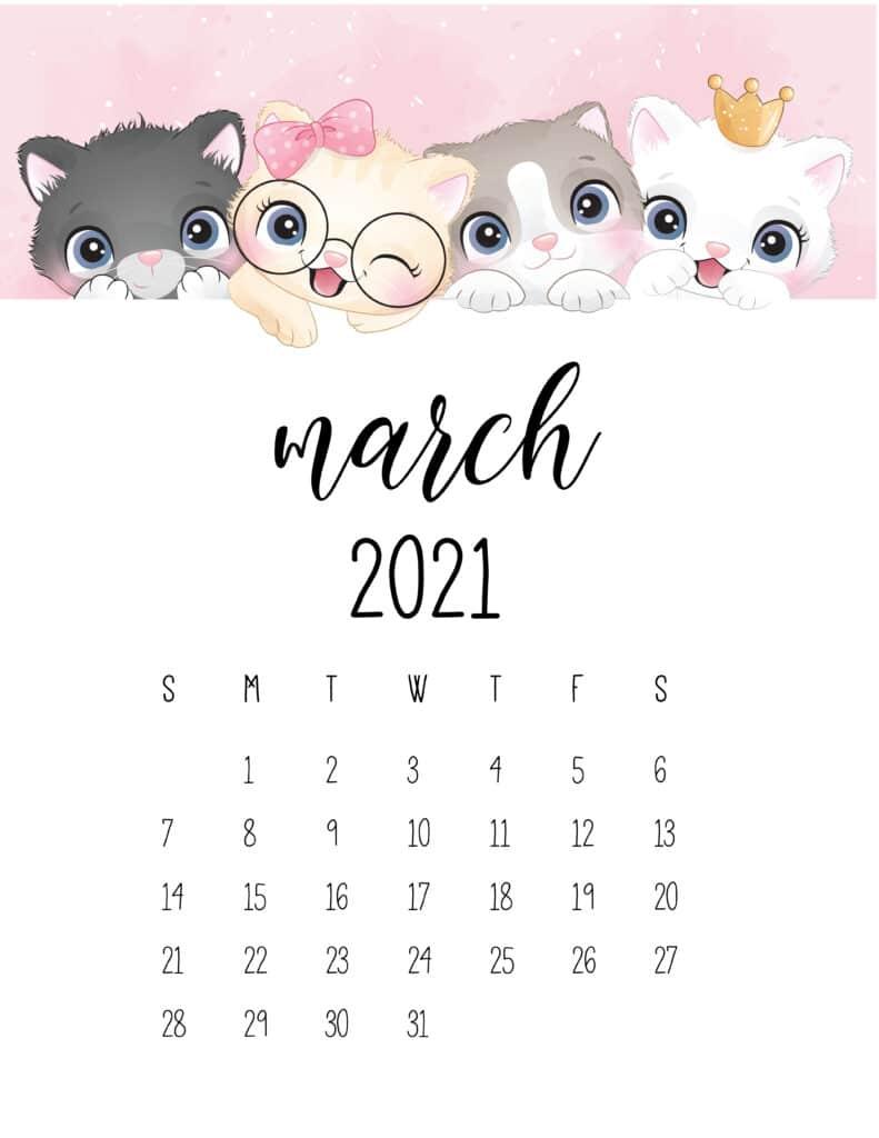 Cute Kittens March 2021 Calendar