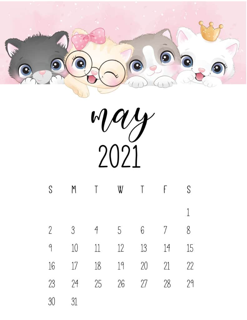 Cute Kittens May 2021 Calendar