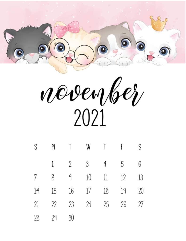 Cute Kittens November 2021 Calendar