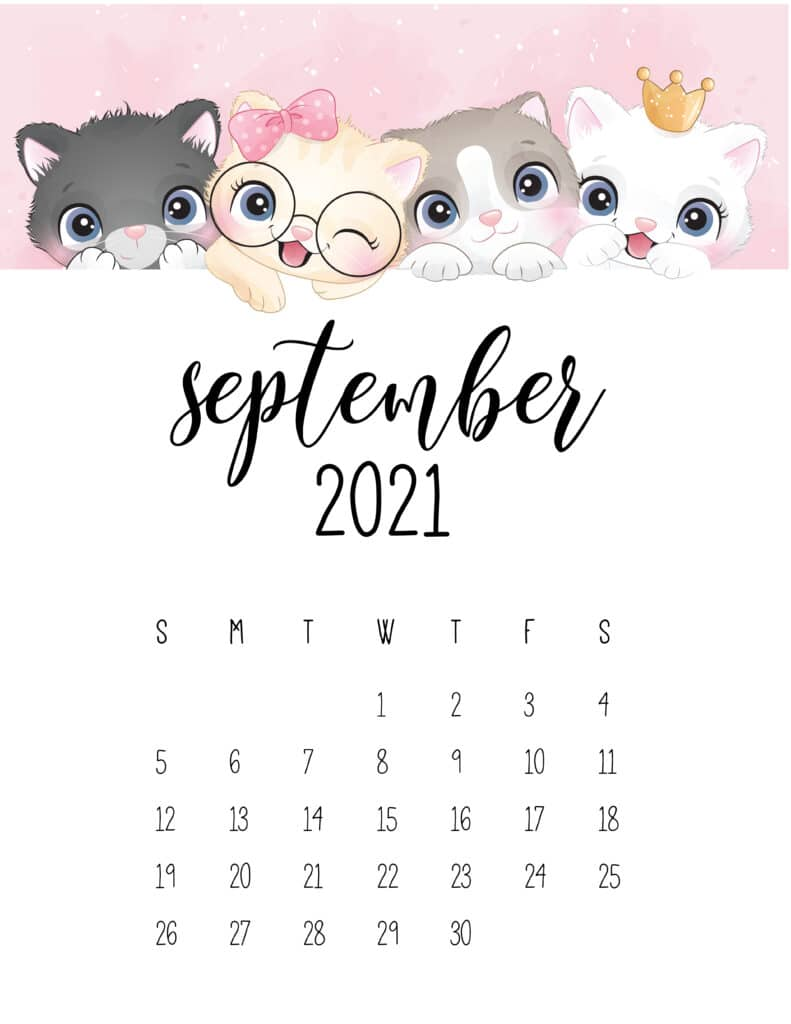 Cute Kittens September 2021 Calendar