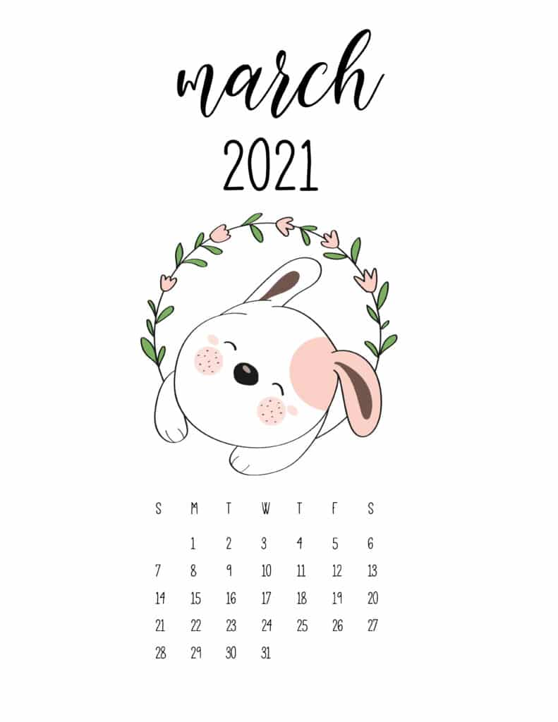 Cute March January 2021 Calendar In Floral Frame