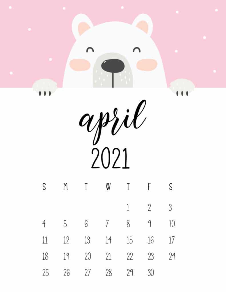 Cute Peeking Bear April 2021 Calendar