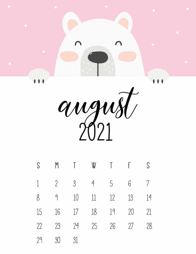 Cute Peeking Bear August 2021 Calendar