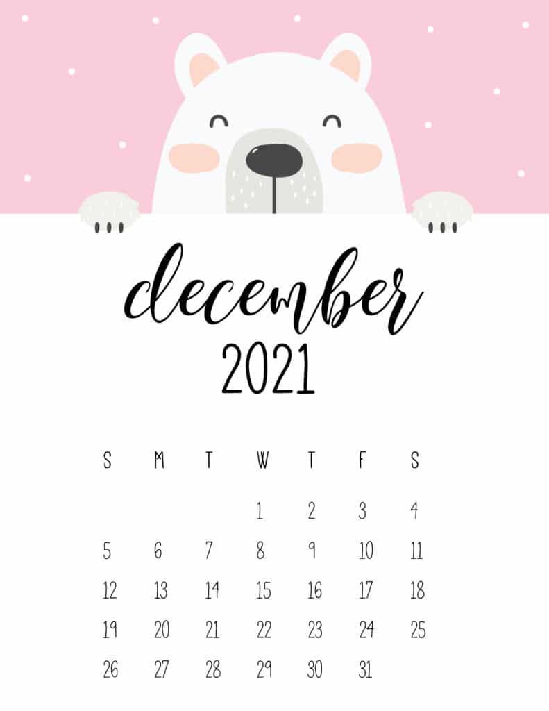 Cute Peeking Bear December 2021 Calendar