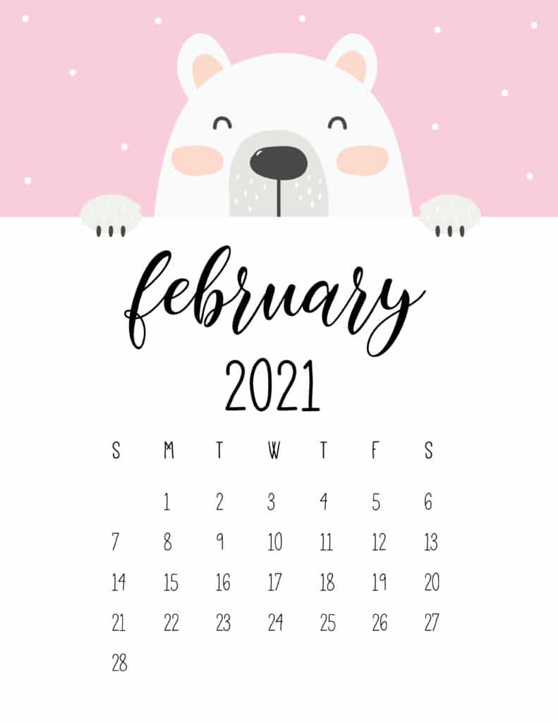 Cute Peeking Bear February 2021 Calendar