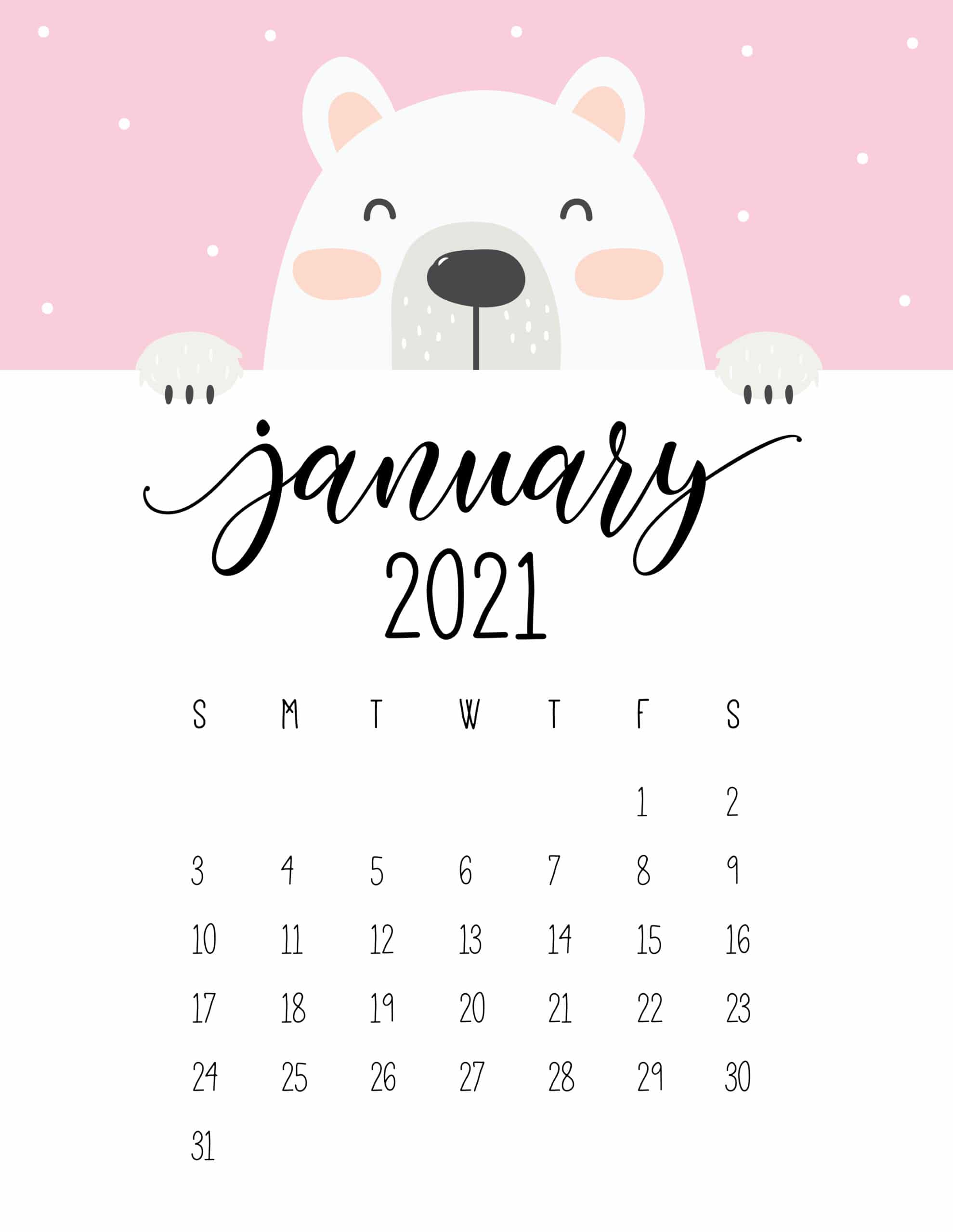 Cute Peeking Bear 2021 Calendar - World of Printables