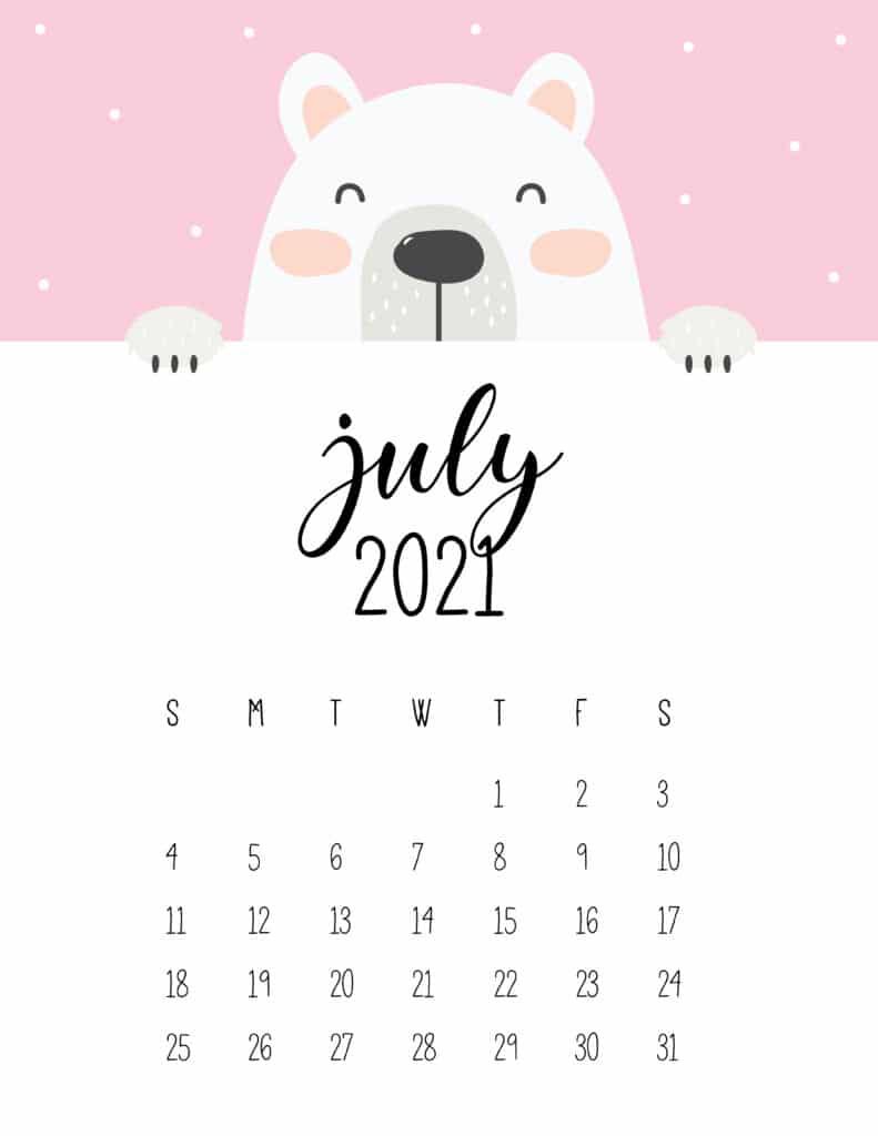 Cute Peeking Bear July 2021 Calendar