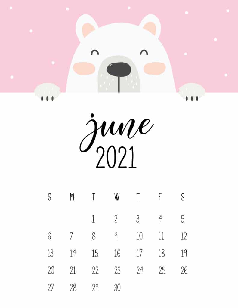 Cute Peeking Bear June 2021 Calendar