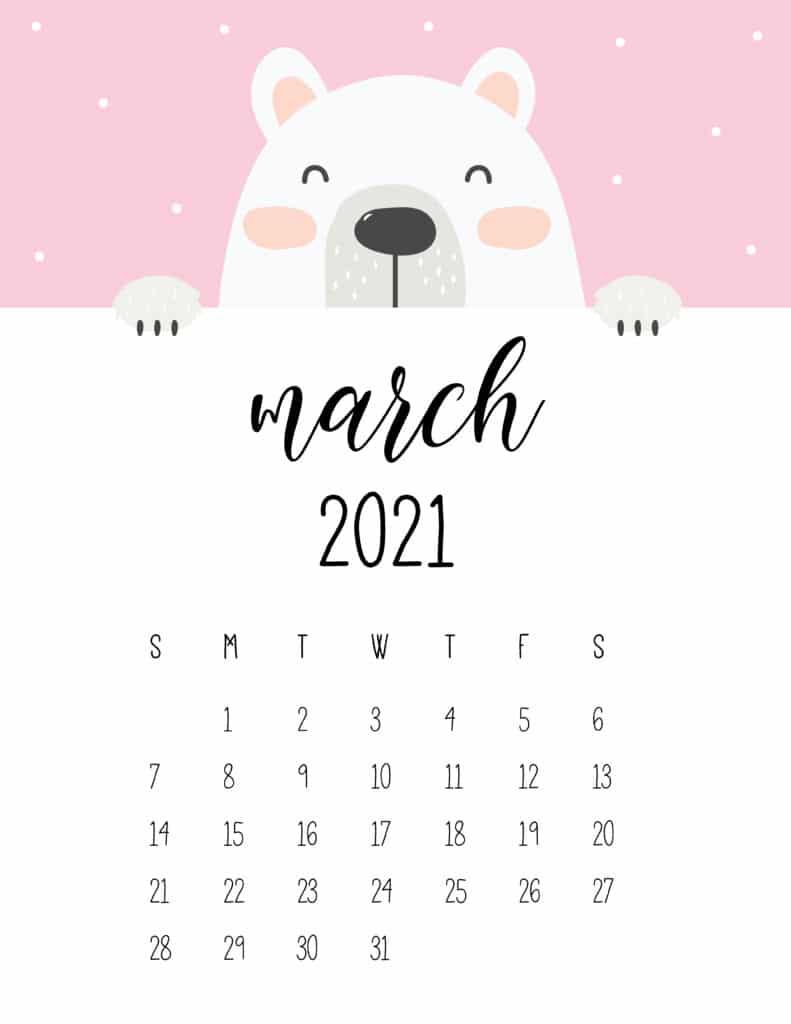 Cute Peeking Bear March 2021 Calendar