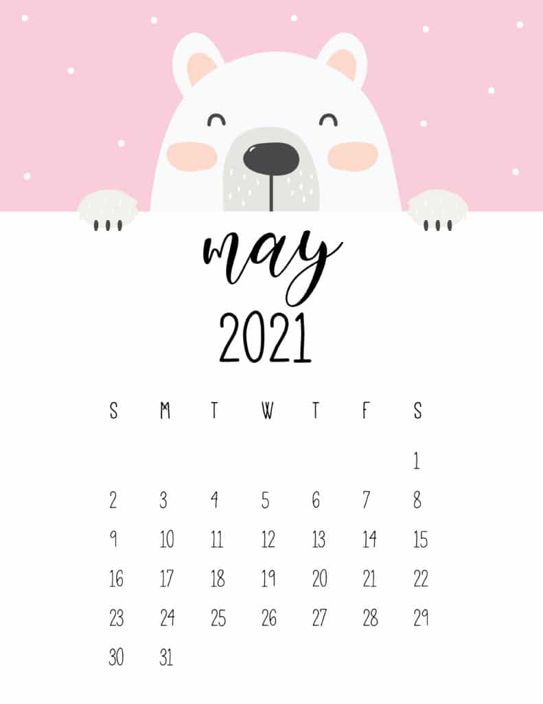 Cute Peeking Bear May 2021 Calendar