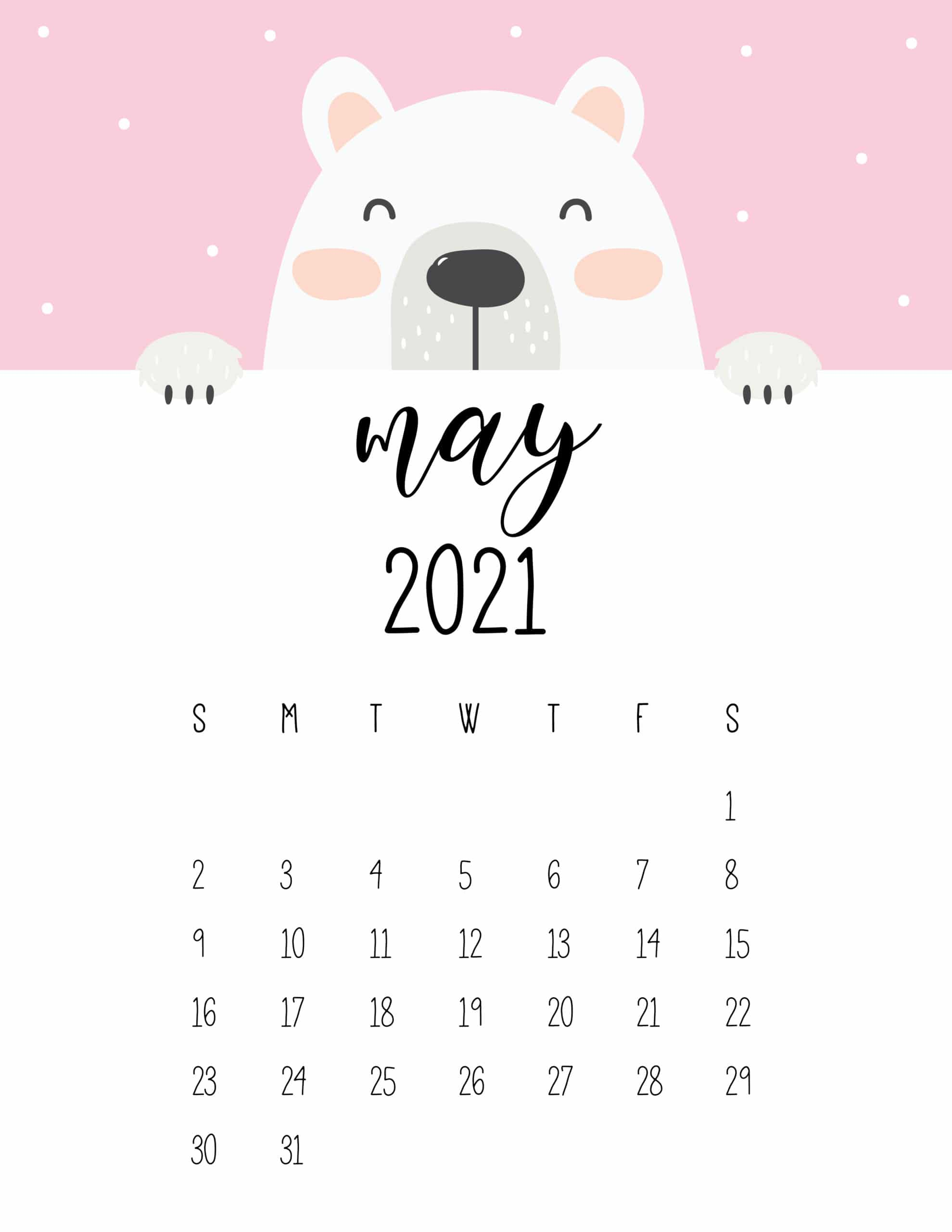 Cute Peeking Bear 2021 Calendar - World of Printables