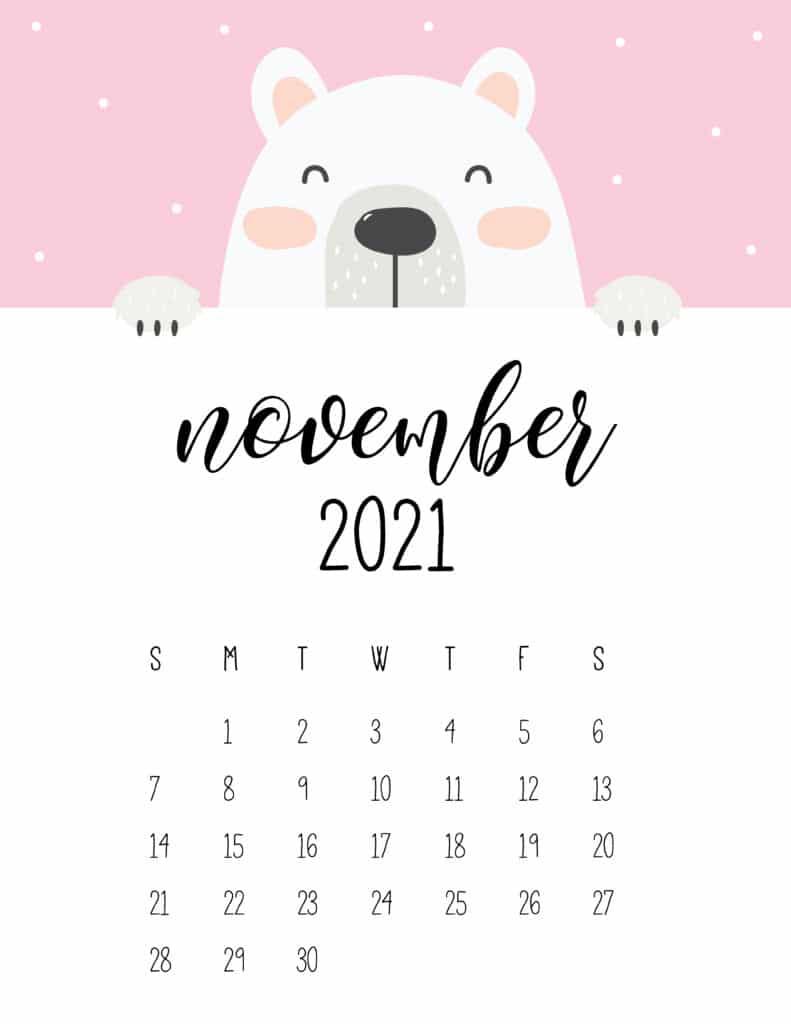 Cute Peeking Bear November 2021 Calendar