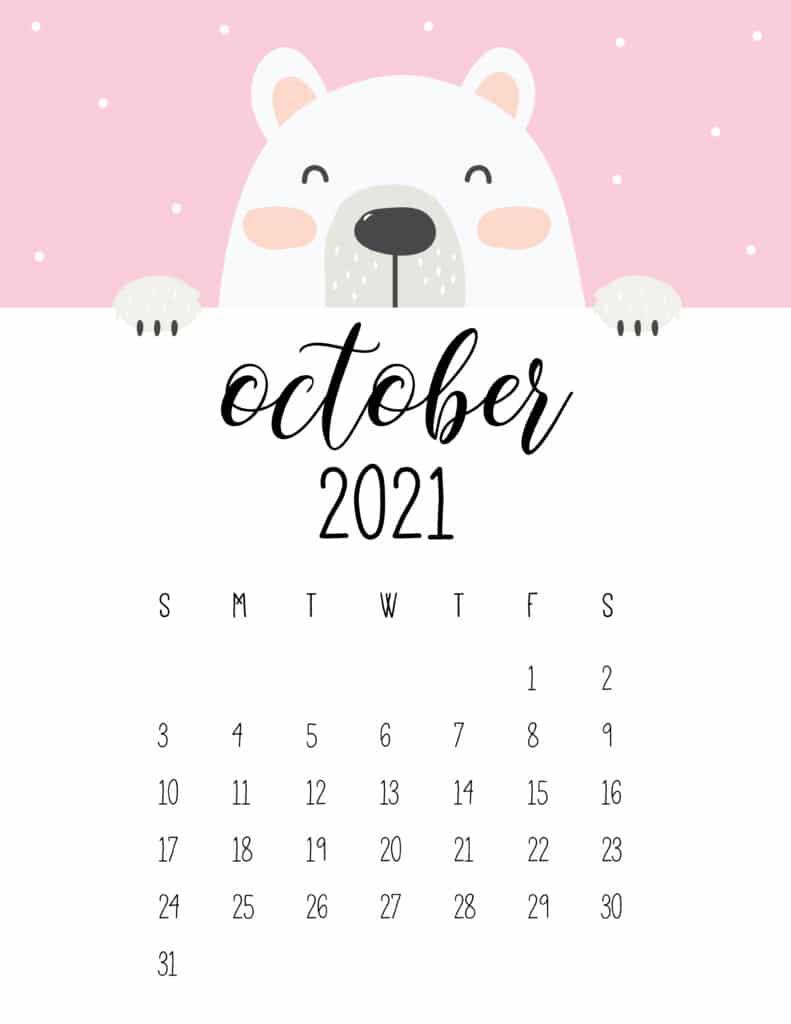 Cute Peeking Bear October 2021 Calendar