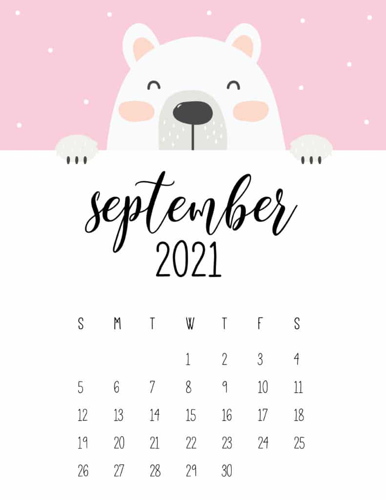 Cute Peeking Bear September 2021 Calendar