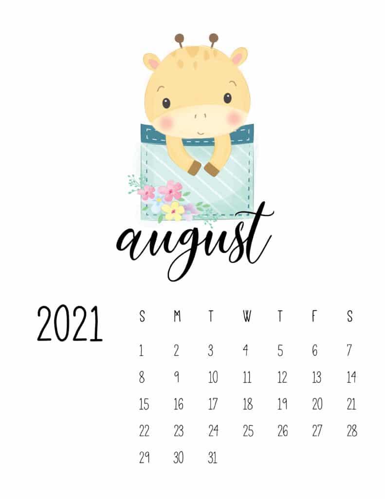 Cute Sleep Time Animals August 2021 Calendar