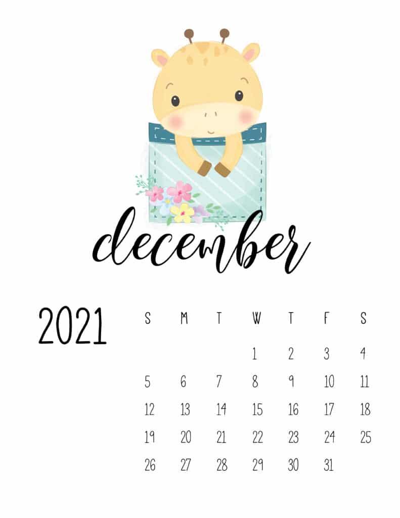 Cute Sleep Time Animals December 2021 Calendar