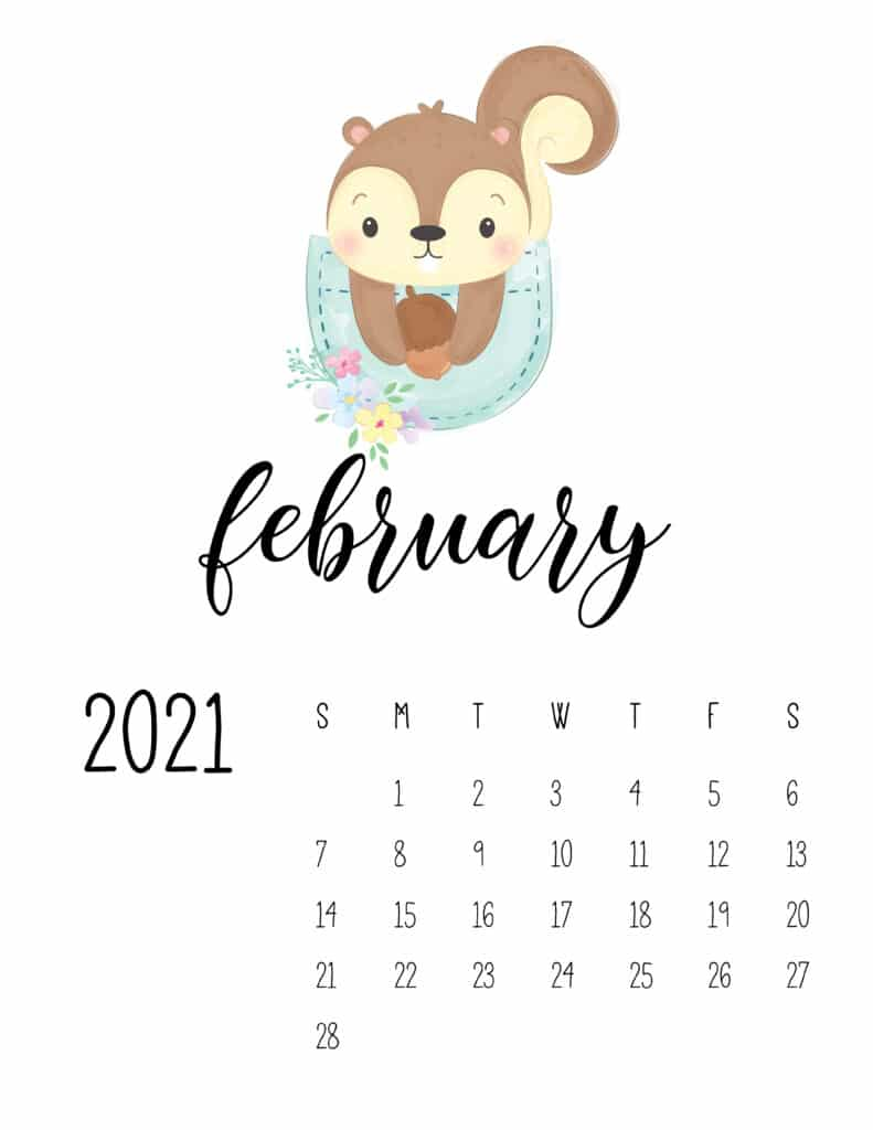 Cute Sleep Time Animals February 2021 Calendar