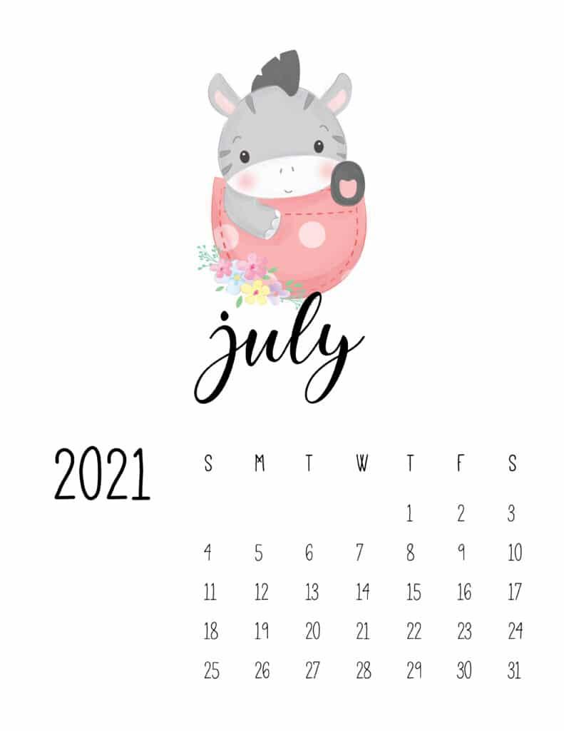 Cute Sleep Time Animals July 2021 Calendar