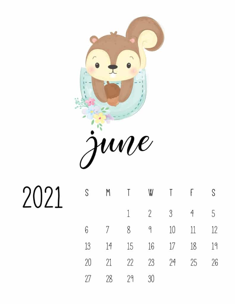 Cute Sleep Time Animals June 2021 Calendar