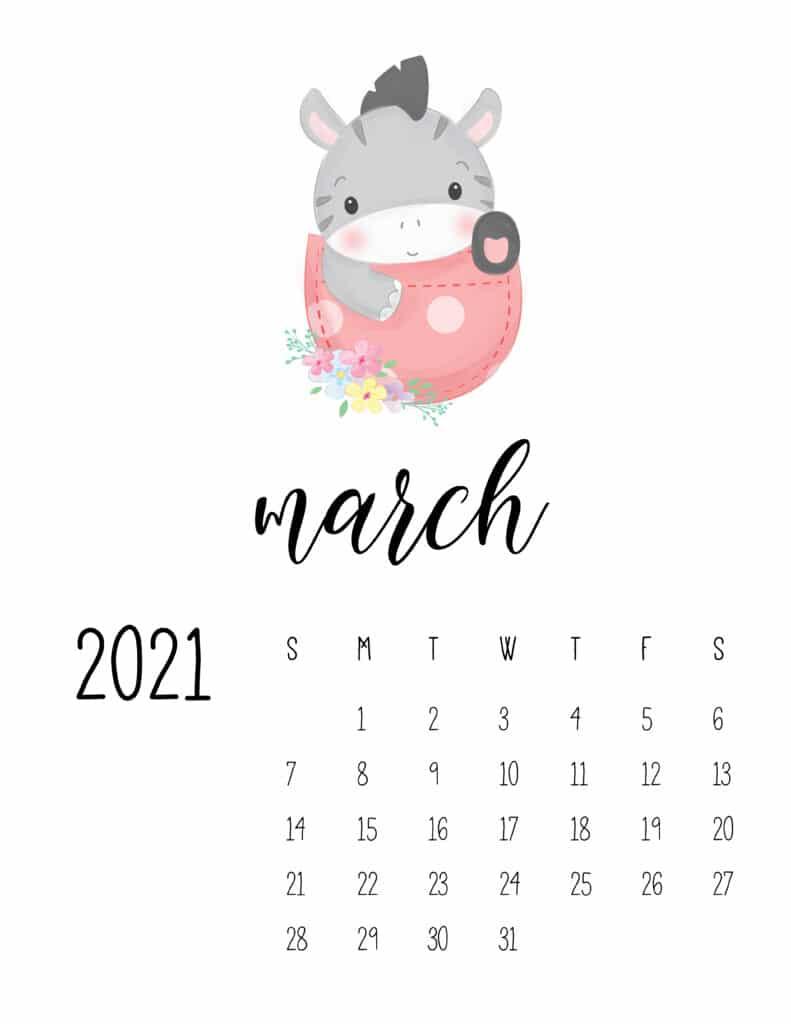 Cute Sleep Time Animals March 2021 Calendar
