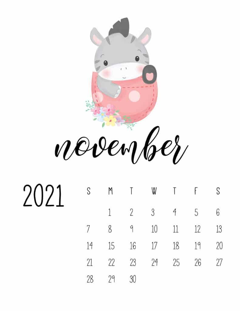 Cute Sleep Time Animals November 2021 Calendar