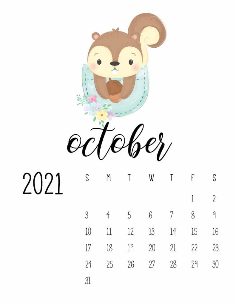 Cute Sleep Time Animals October 2021 Calendar
