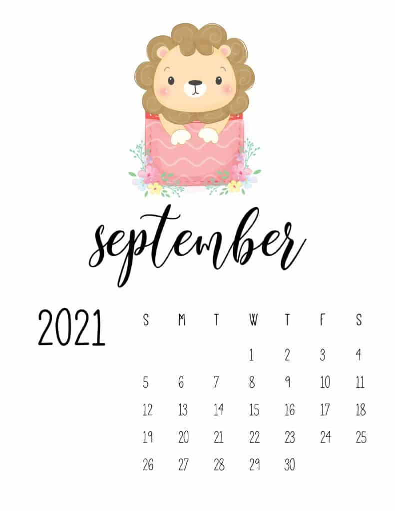 Cute Sleep Time Animals September 2021 Calendar