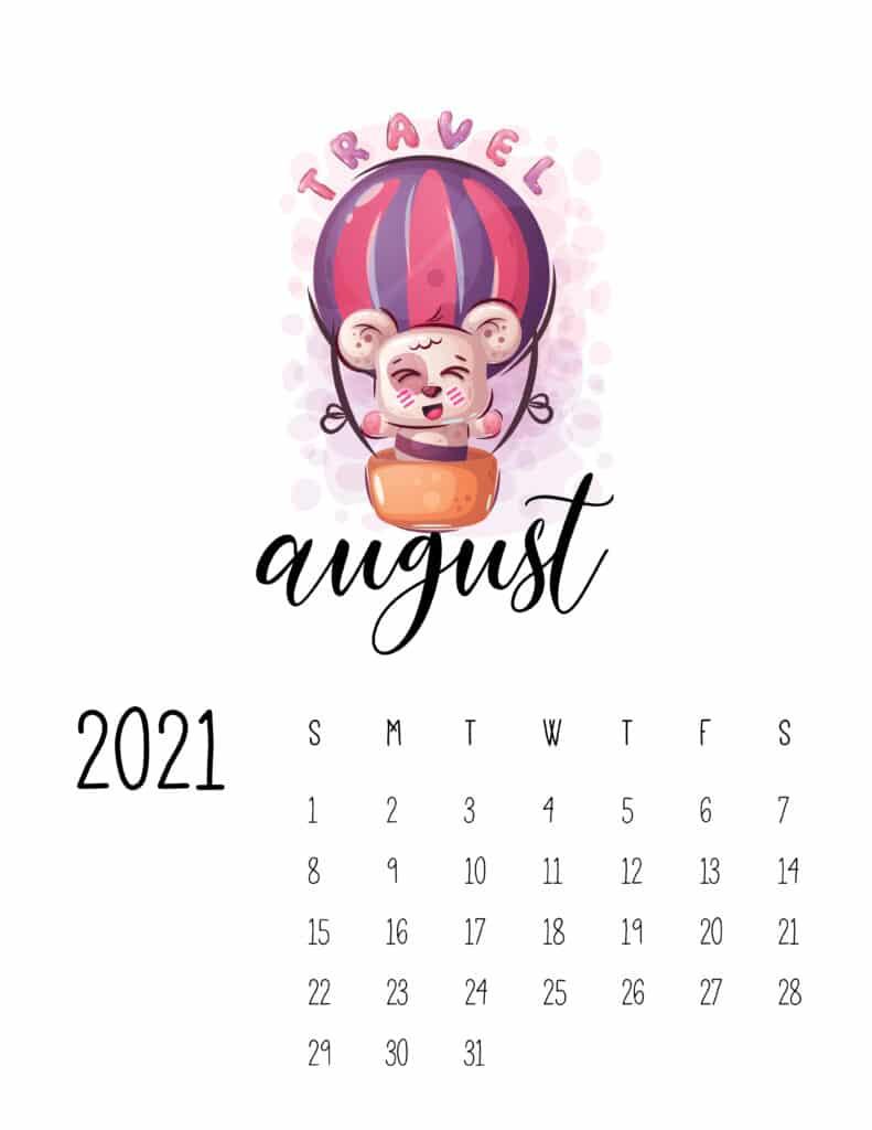 Cute Traveling Animals Calendar August 2021