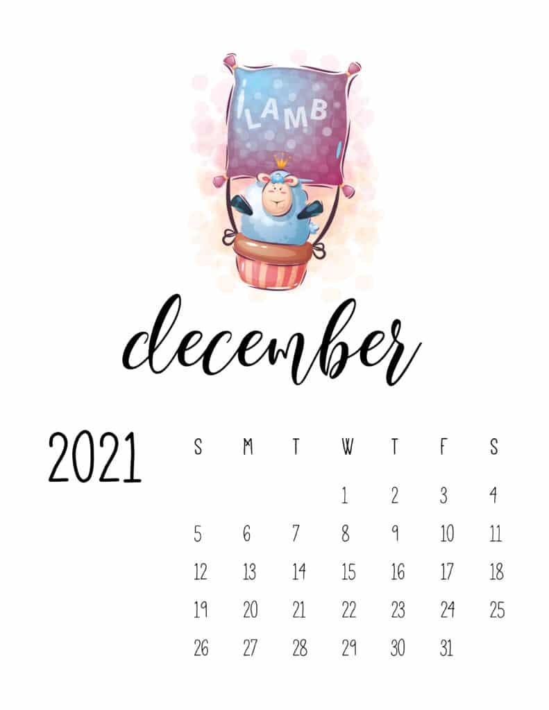 Cute Traveling Animals Calendar December 2021